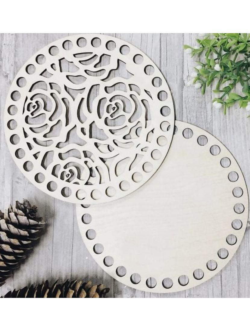 Донышко и резная крышка для вязания «Розы» деревянные в наборе, 15 см