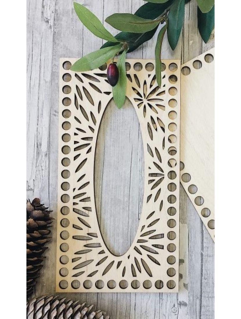 Донышко и резная крышка для вязания салфетницы «Листья» деревянные в наборе, 23*12 см