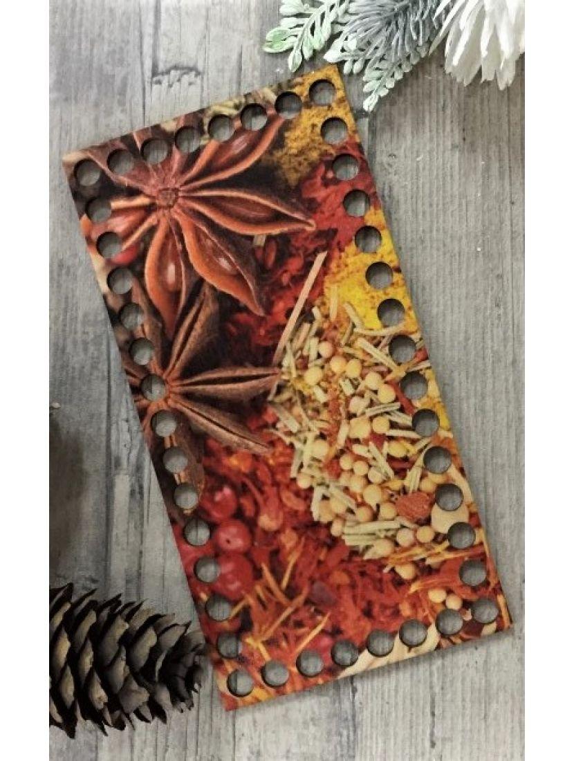 Донышко для вязания «Пряности» деревянное с рисунком, 20*10 см