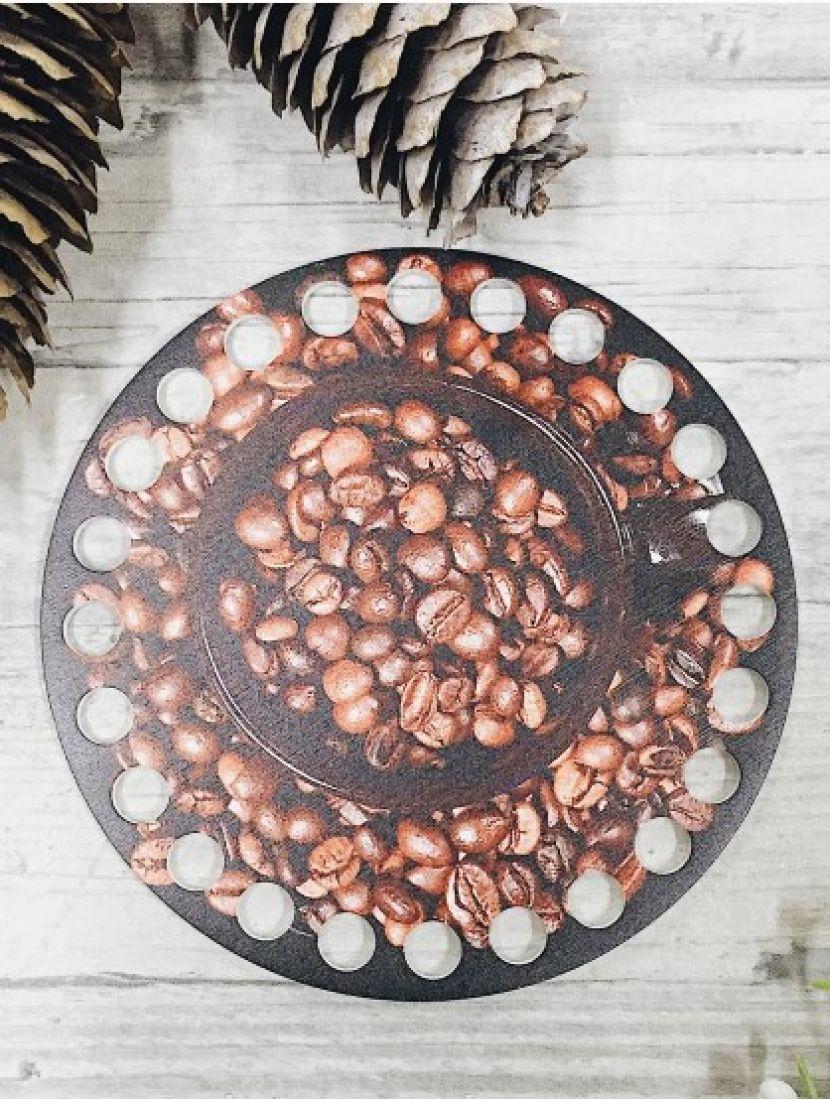 Донышко для вязания деревянное «Кофейные зёрна», 10 см