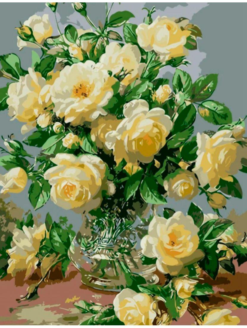 Картина по номерам «Белые розы»