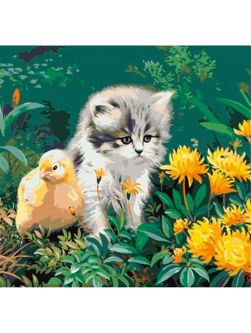 Картина по номерам «Котёнок и цыплёнок»