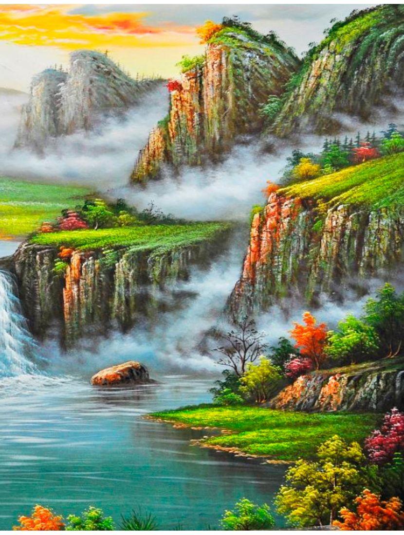 Картина по номерам «Горный водопад»