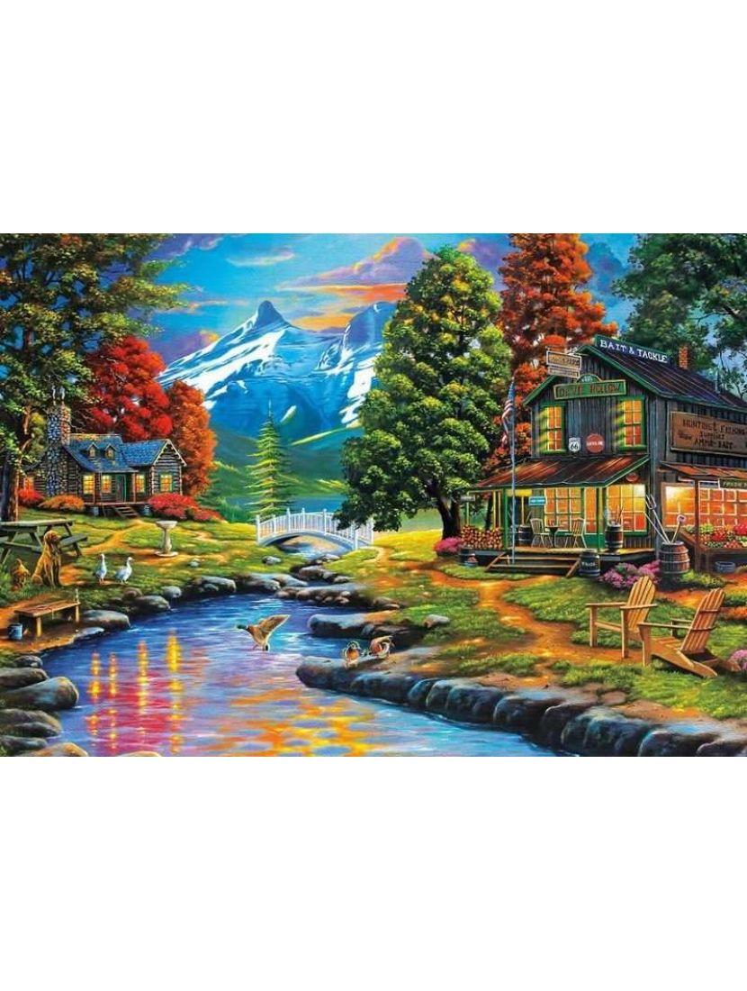 Картина по номерам  на подрамнике «Маленький горный городок»