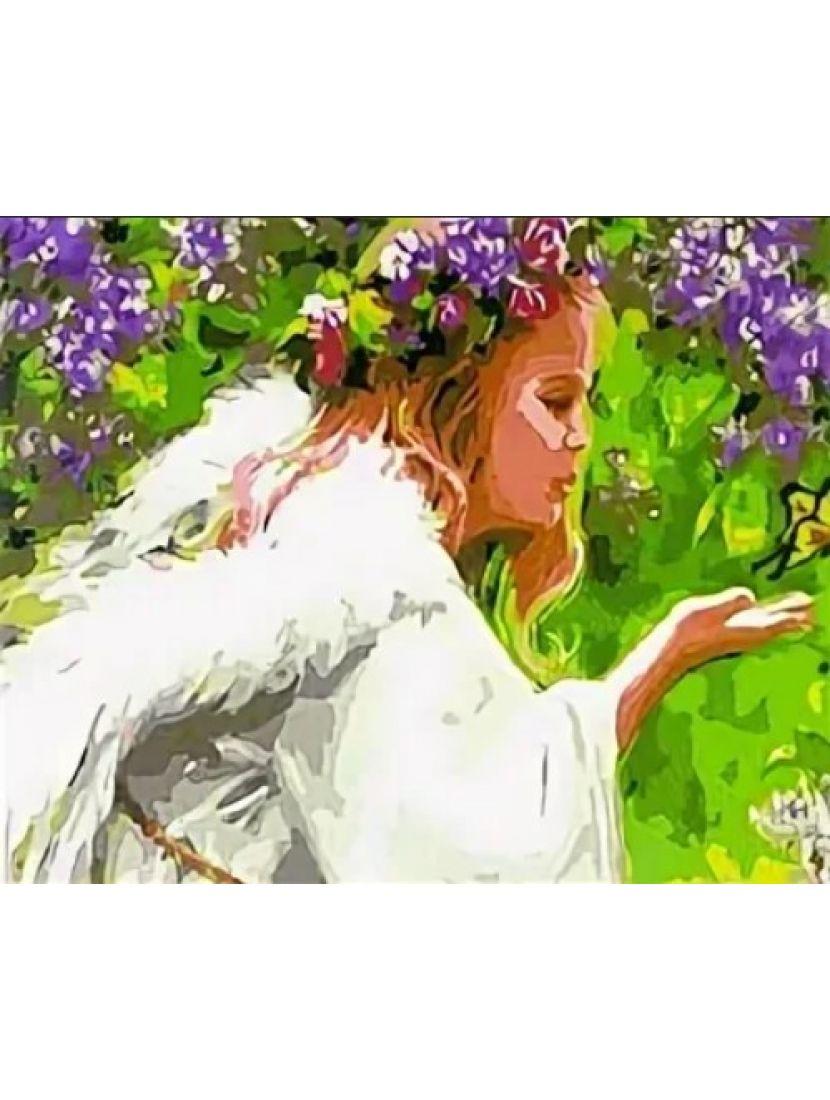 Картина по номерам  на подрамнике «Ангел цветов»