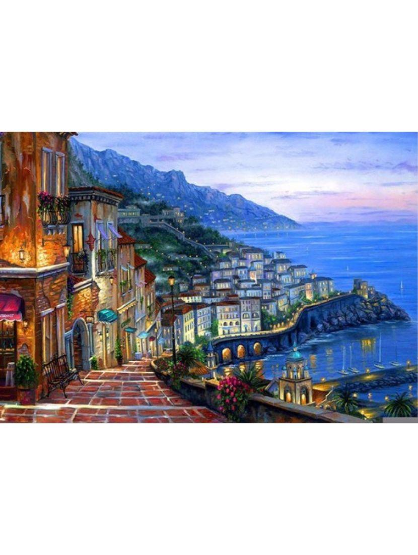 Картина по номерам  на подрамнике «Сползающий город»