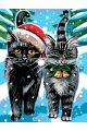 Картина по номерам  на подрамнике «Рождественские котики»