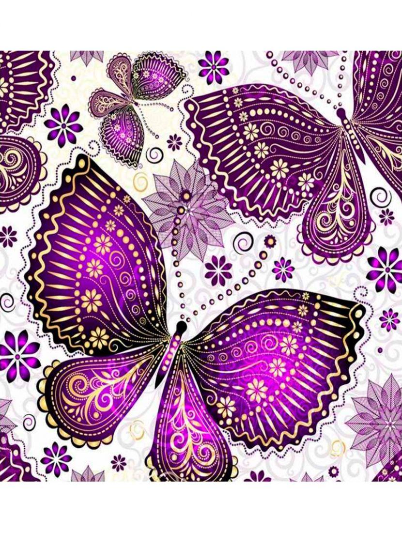 Картина по номерам  на подрамнике «Фиолетовые бабочки»