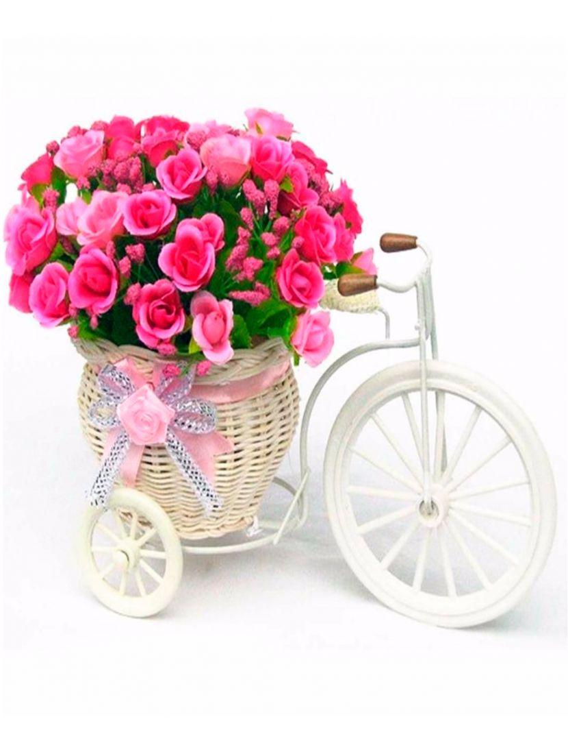 Картина по номерам  на подрамнике «Велосипед с букетом роз»