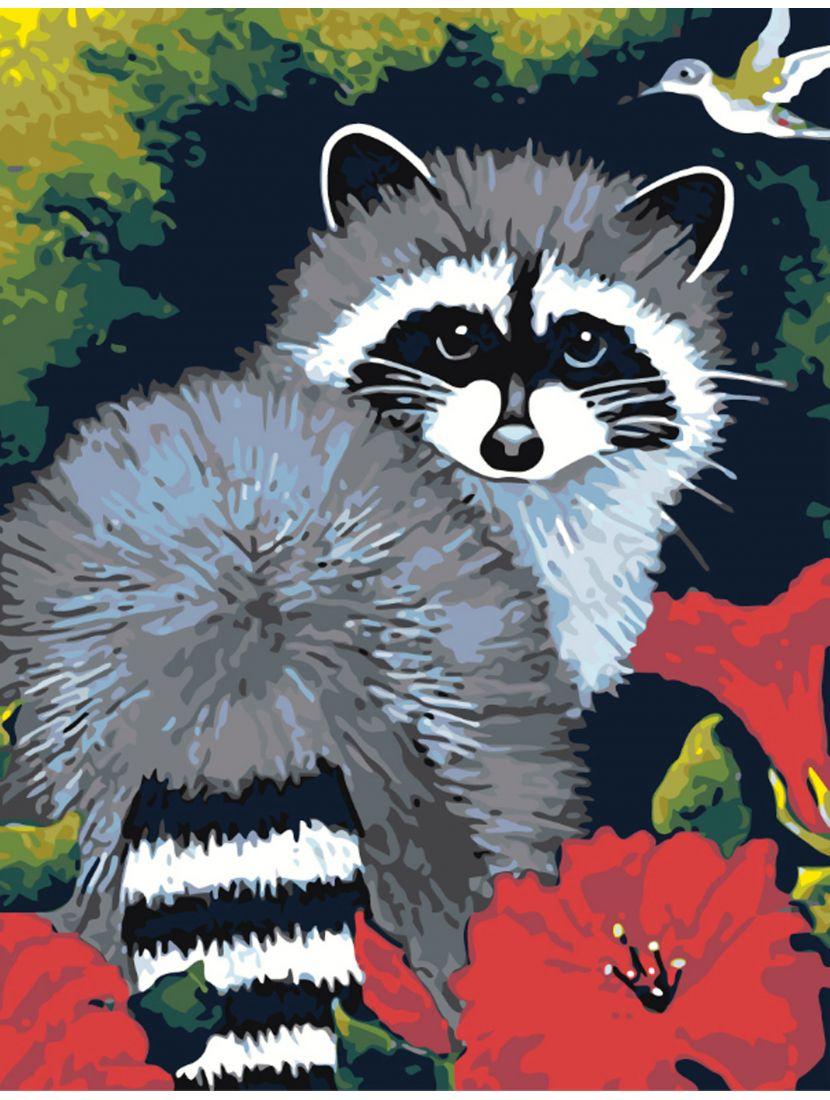 Картина по номерам  на подрамнике «Енот полоскун»