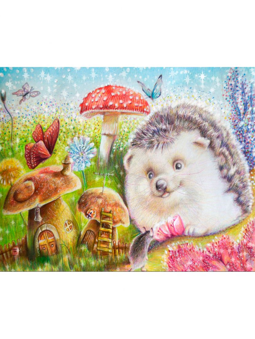 Картина по номерам  на подрамнике «Ёжик с грибами»