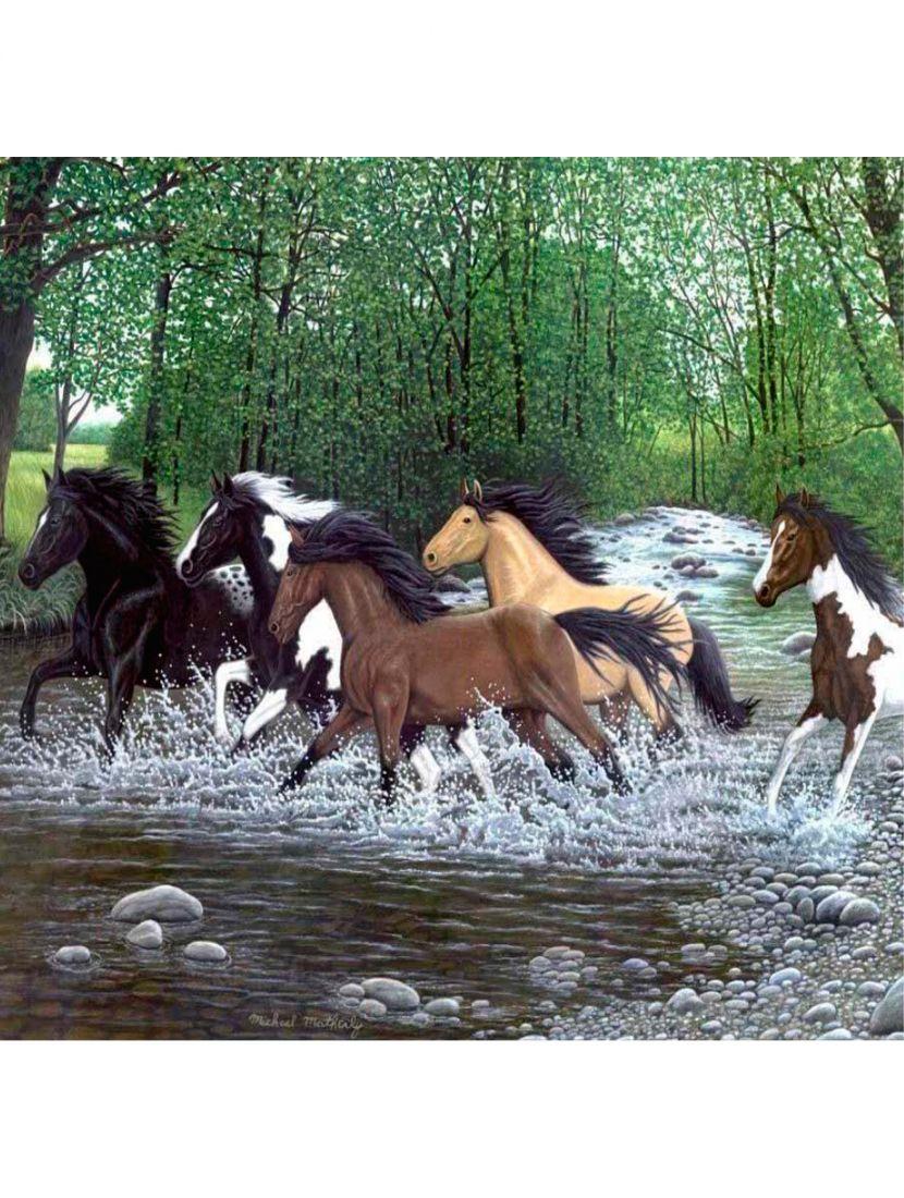 Картина по номерам  на подрамнике «Табун лошадей»