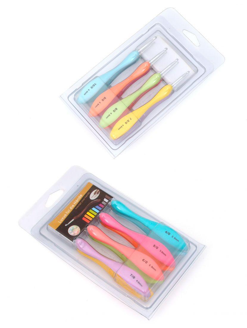 Крючки для вязания «Спектр» металлические с пластиковой ручкой 8 штук в наборе