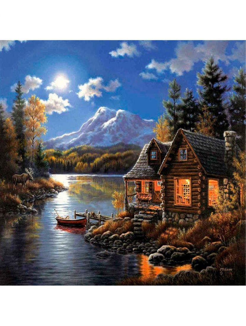 Картина по номерам  на подрамнике «Домик у реки»