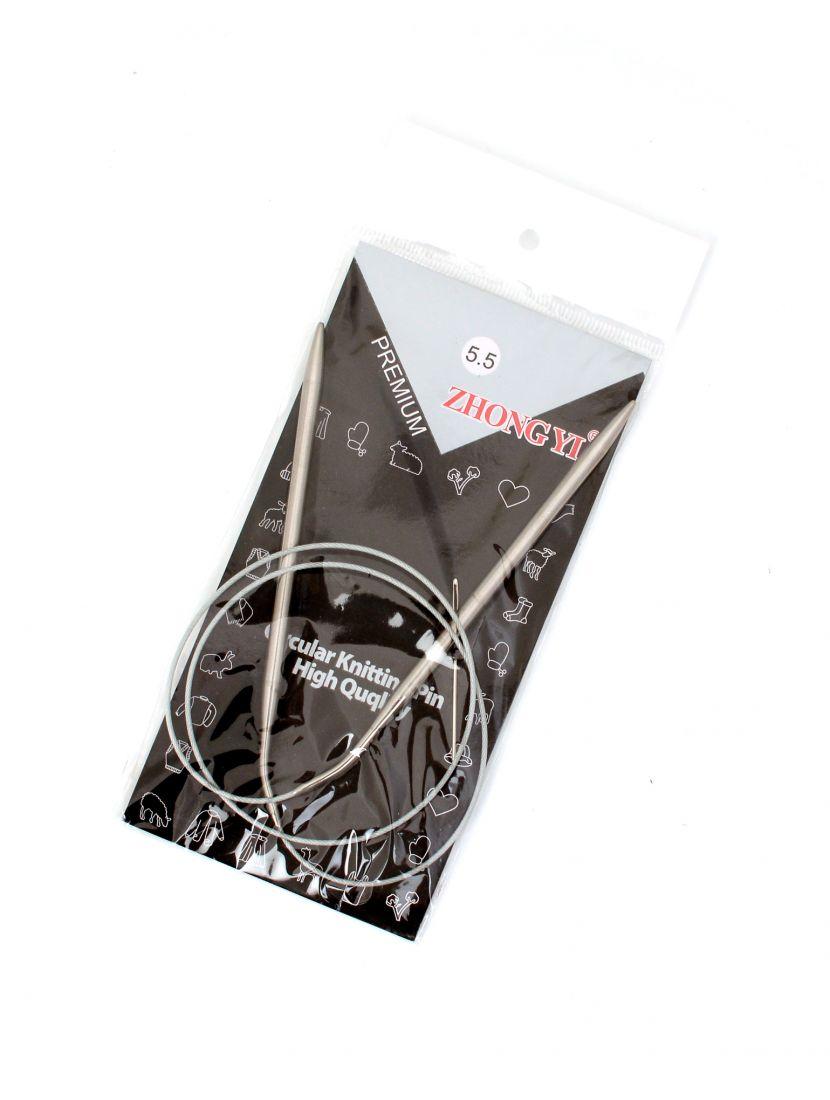 Спицы для вязания круговые, диаметр 5,5 мм, длина 81см, металлическая леска
