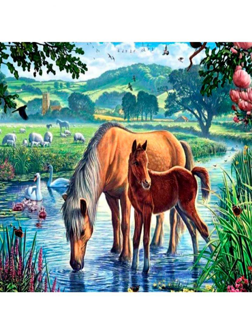 Картина по номерам  на подрамнике «На водопое»