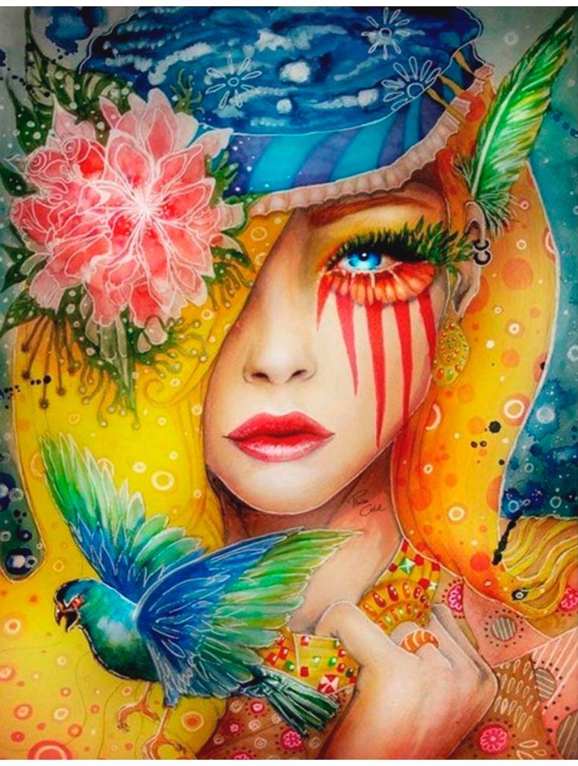 Картина по номерам  на подрамнике «Женщина жгучий цветок»