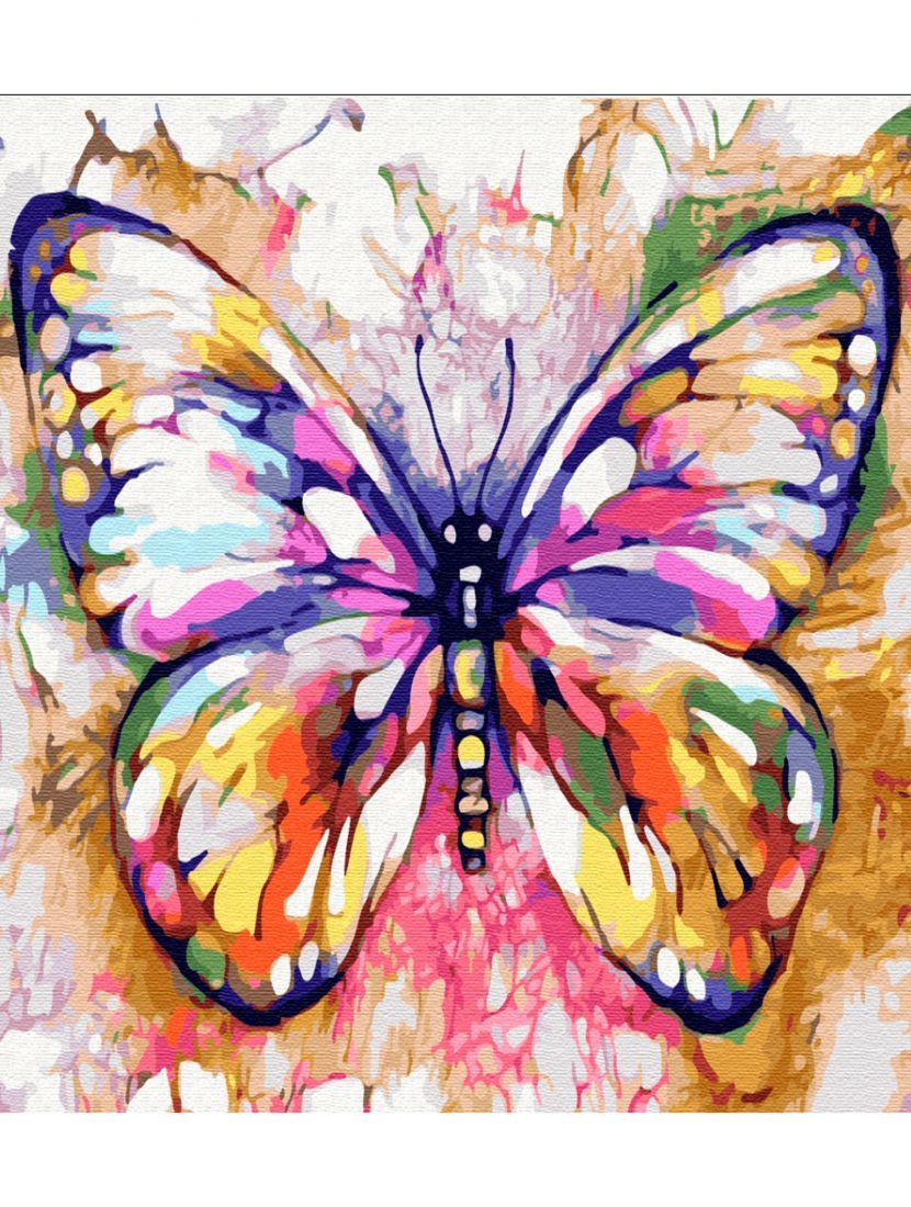 Картина по номерам  на подрамнике «Радужная бабочка»
