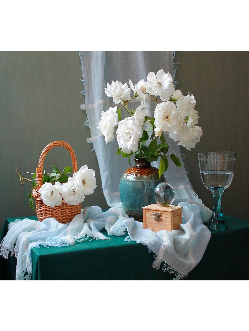 Алмазная мозаика на раме со стеклом «Натюрморт с белыми розами» подарочный вариант