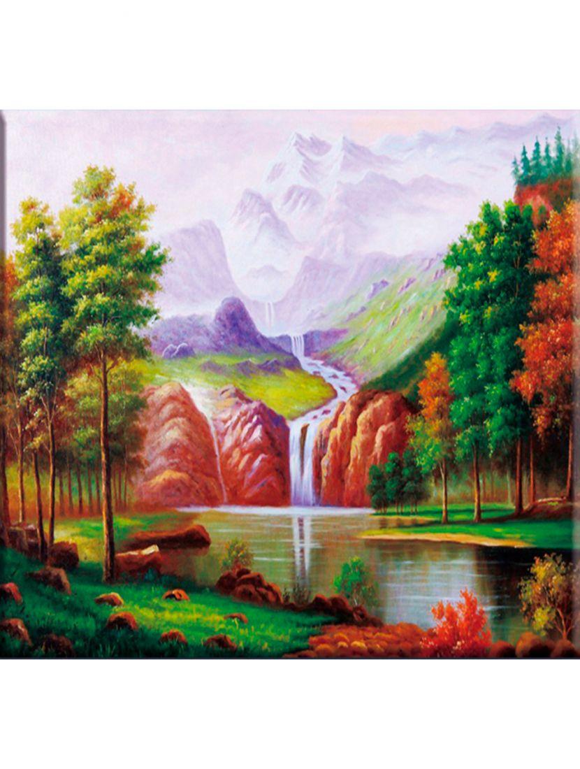 Алмазная мозаика на раме со стеклом «Сказочный водопад» подарочный вариант