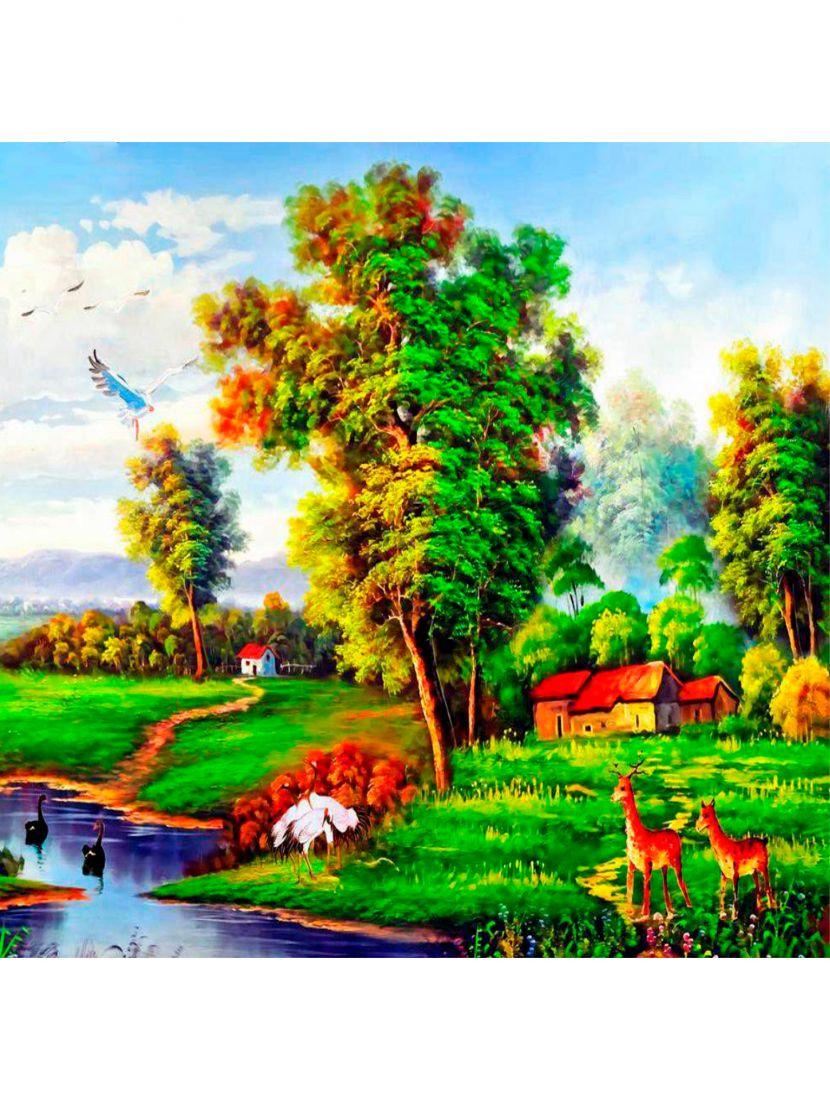 Алмазная мозаика на раме со стеклом «У реки близь села» подарочный вариант