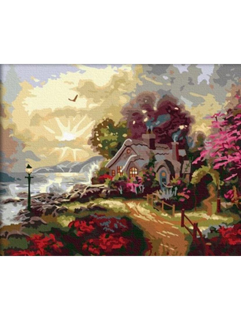 Картина по номерам  на подрамнике «Домик у моря»