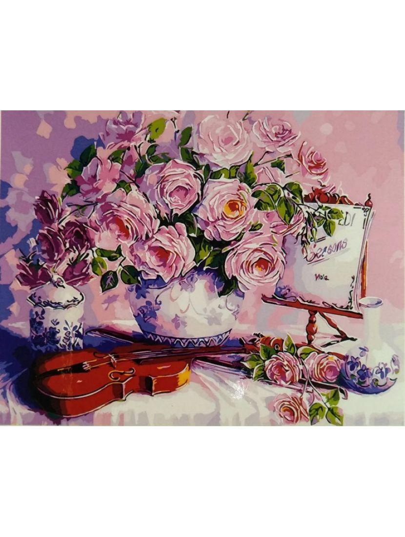 Картина по номерам на подрамнике «Цветы и скрипка»