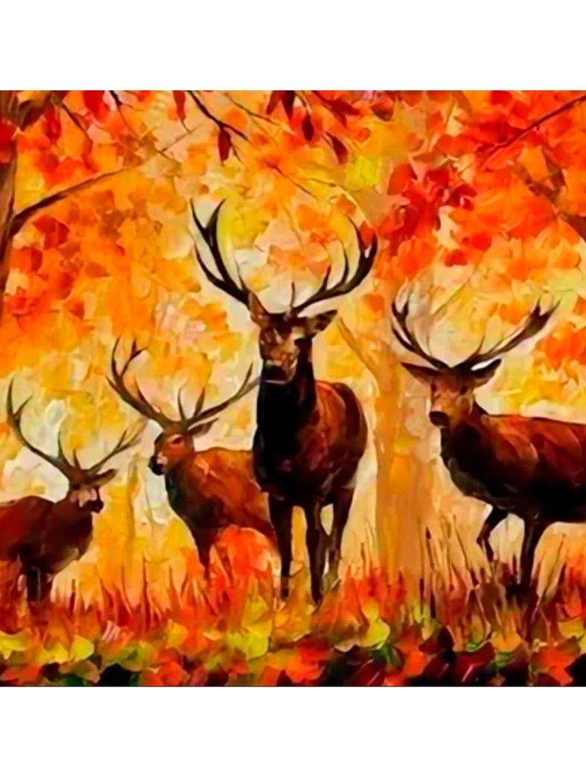 Алмазная мозаика «Огненные олени»