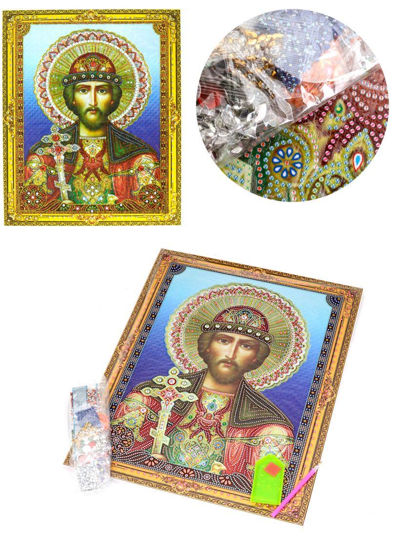 Алмазная мозаика на подрамнике «Святой князь Андрей Боголюбский» икона
