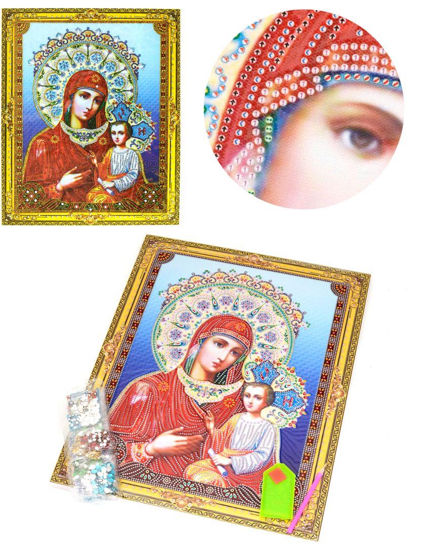 Алмазная мозаика на подрамнике «Божией Матери Одигитрия» икона