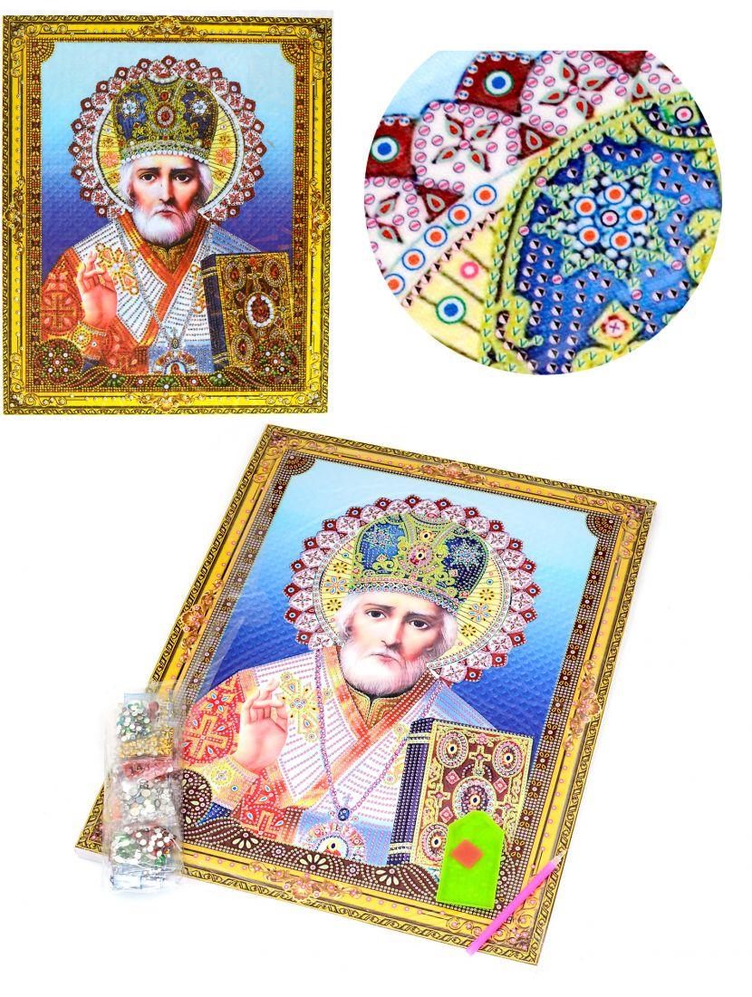 """Алмазная мозаика на подрамнике """"Святой Николай Чудотворец"""" икона"""
