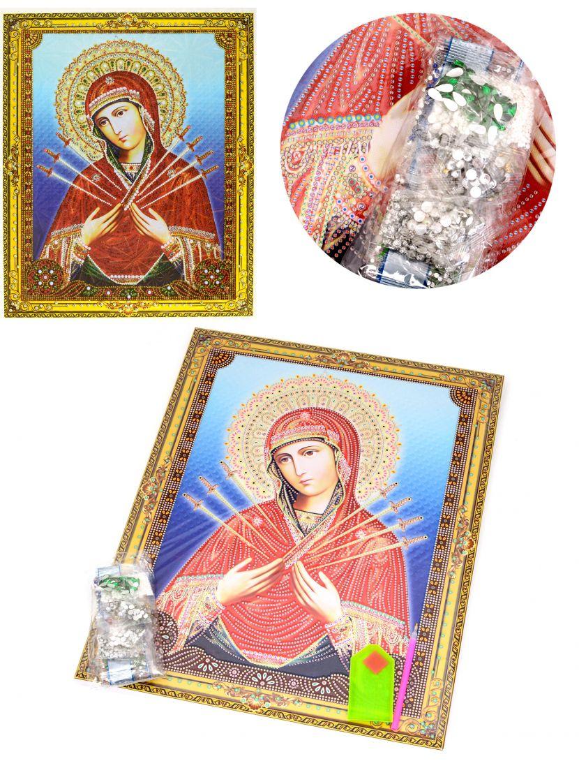 Алмазная мозаика на подрамнике «Божией Матери Семистрельная» икона