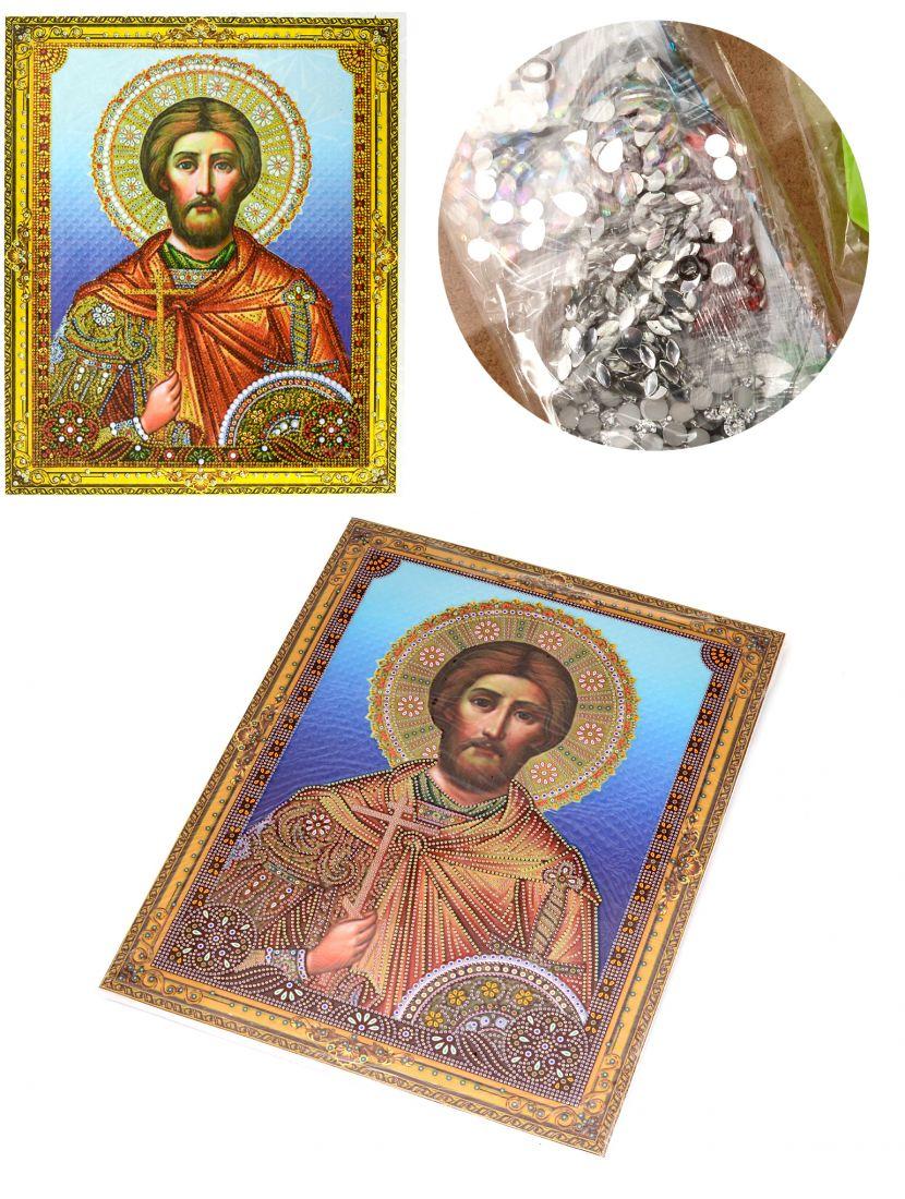 """Алмазная мозаика на подрамнике """"Святой Дмитрий"""" икона"""