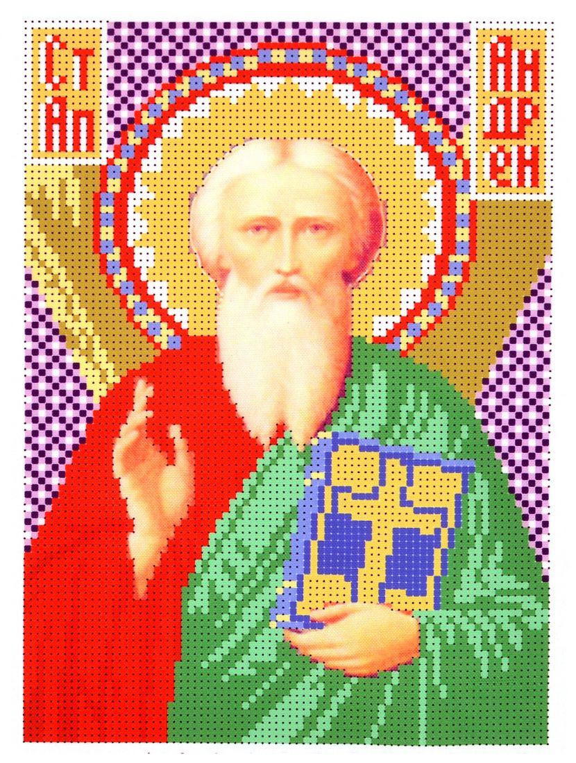 Схема для вышивания бисером «Святой Апостол Андрей Первозванный» икона