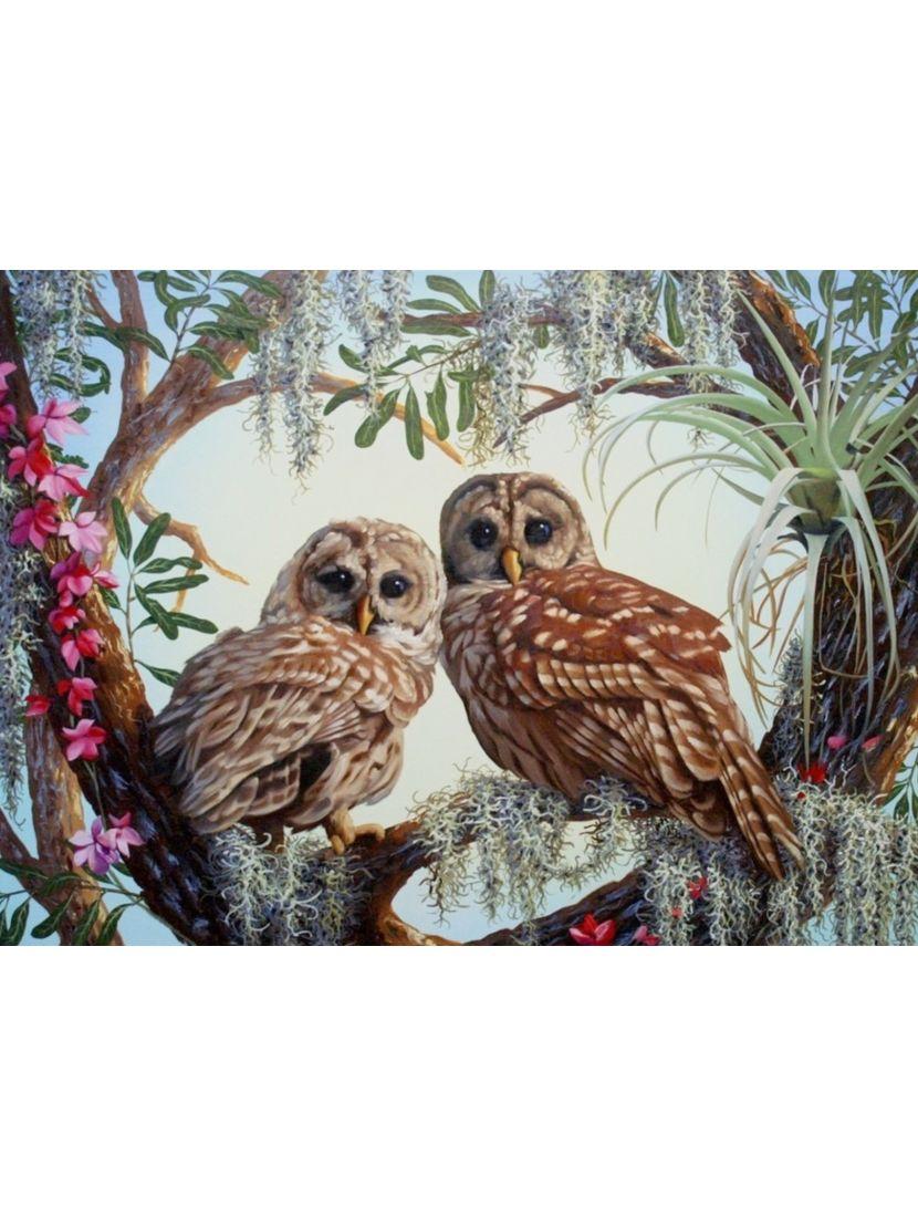 Алмазная мозаика на подрамнике «Сказочные совы»