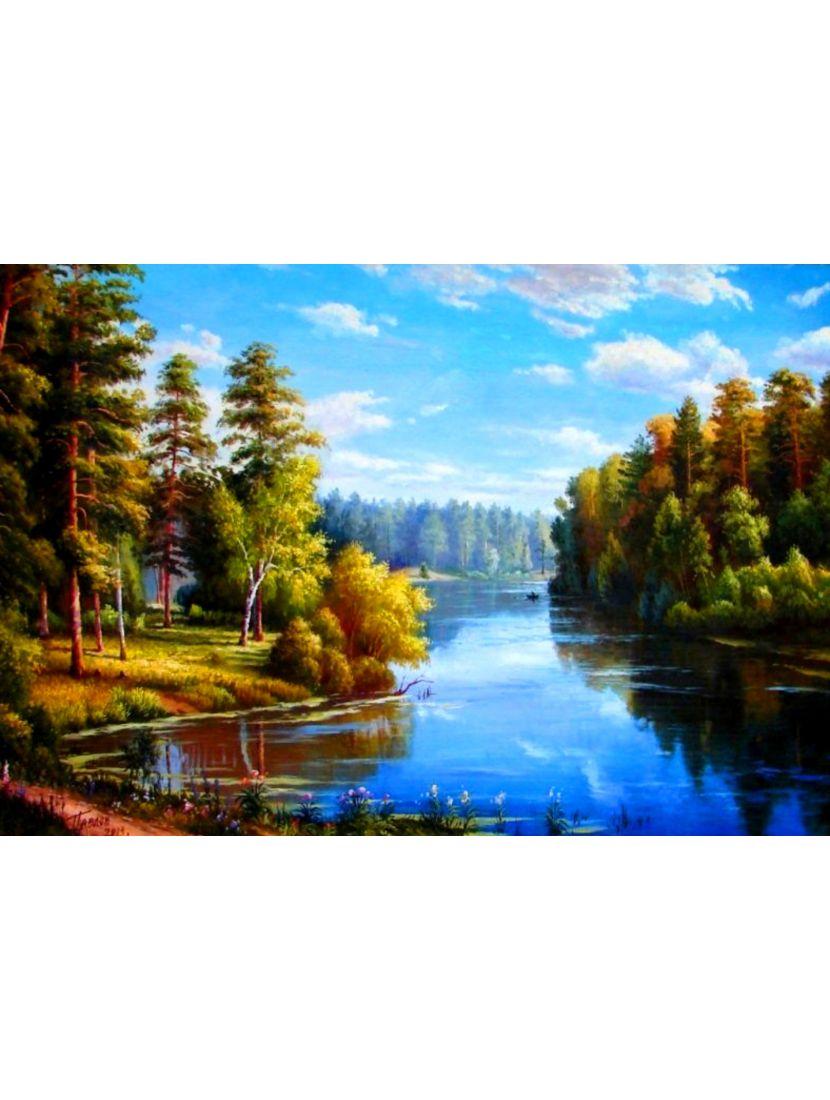 Алмазная мозаика на подрамнике «Лесная река»