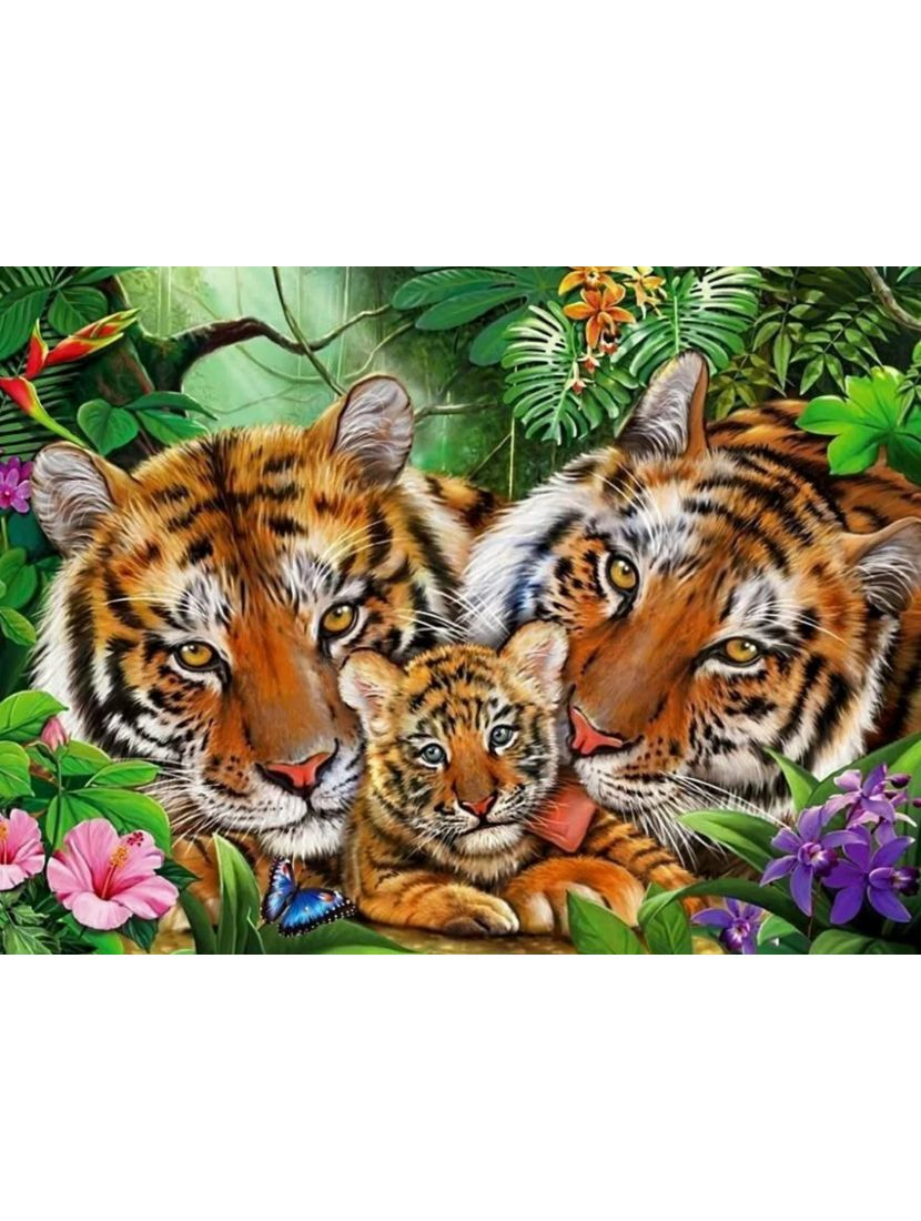 Алмазная мозаика на подрамнике «Тигриная семья»