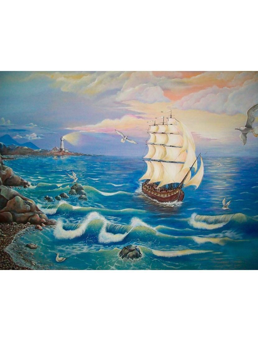 Алмазная мозаика на подрамнике «Фрегат покидающий гавань»
