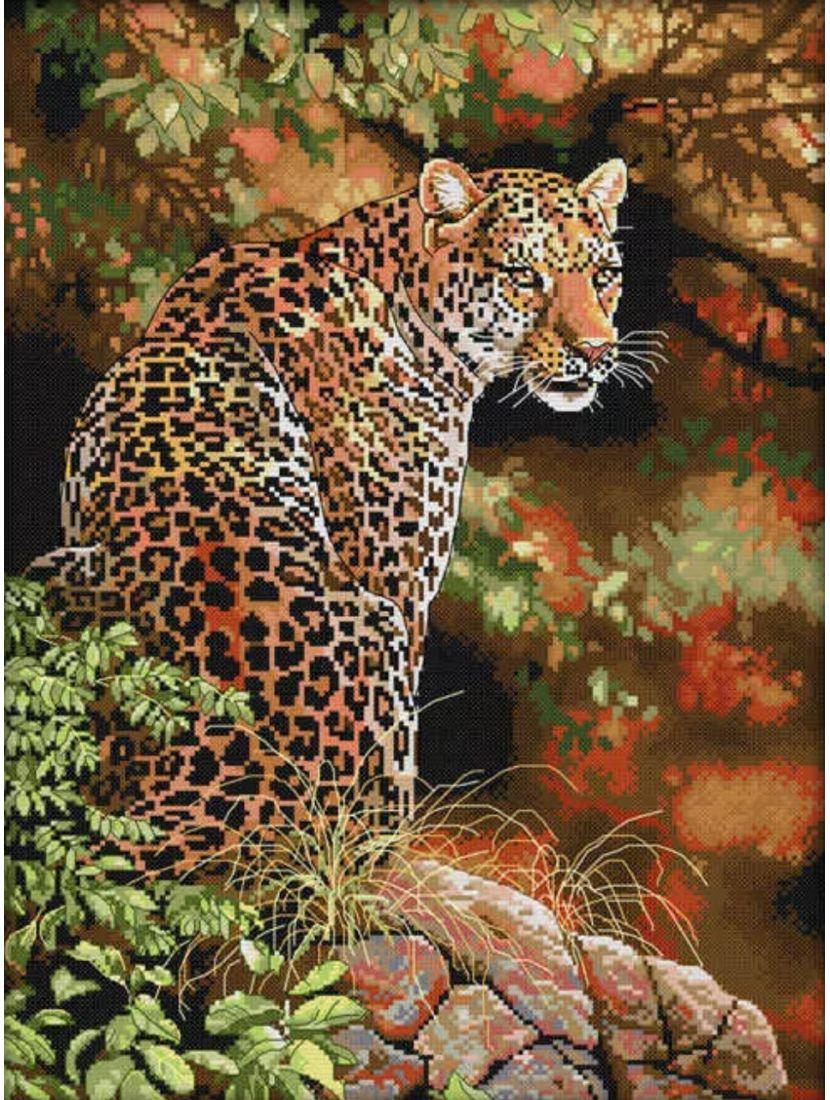 Алмазная мозаика на подрамнике «Ягуар»