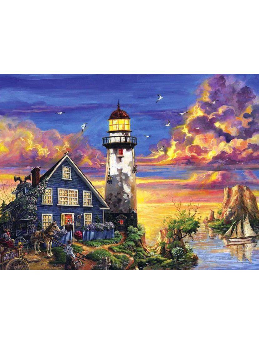 Алмазная мозаика на подрамнике «Дом смотрителя маяка»