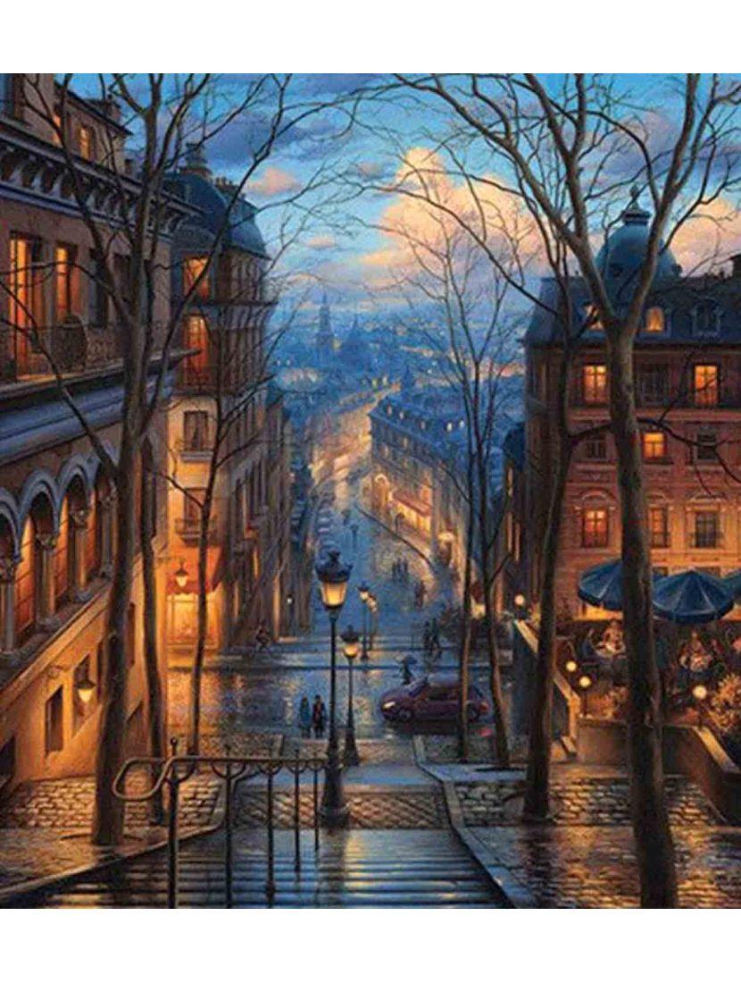 Алмазная мозаика на подрамнике «Вечерний город»
