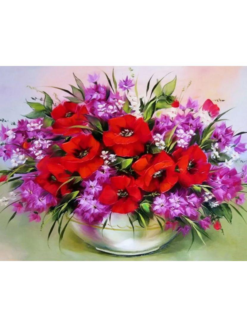 Алмазная мозаика на подрамнике «Букет роз и гвоздик»