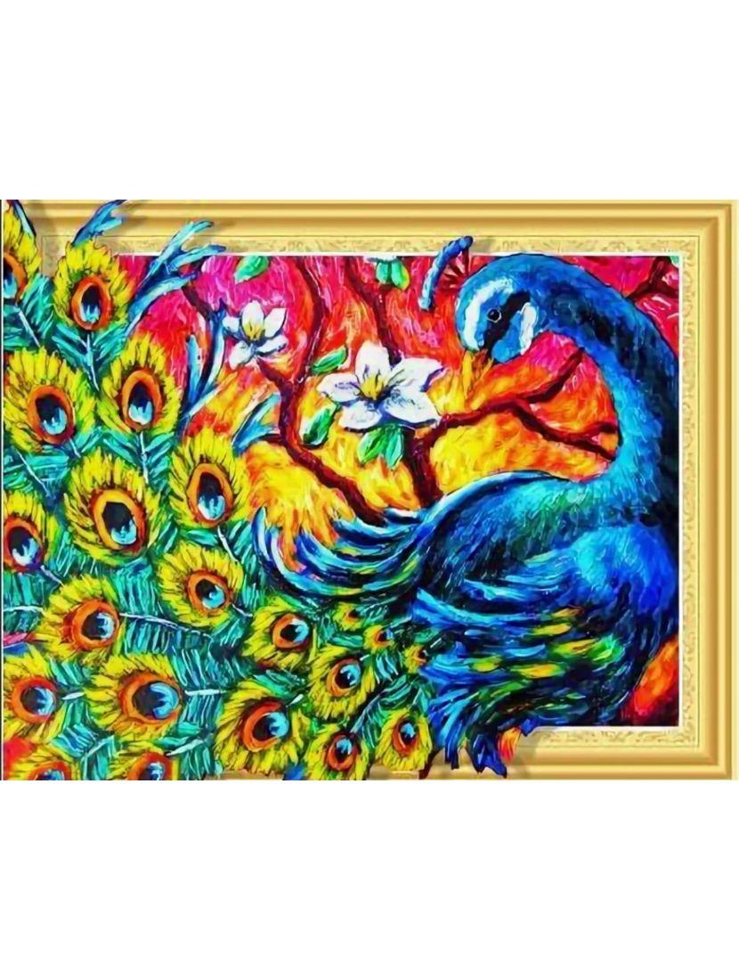 Алмазная мозаика на подрамнике «Импрессионистский павлин»