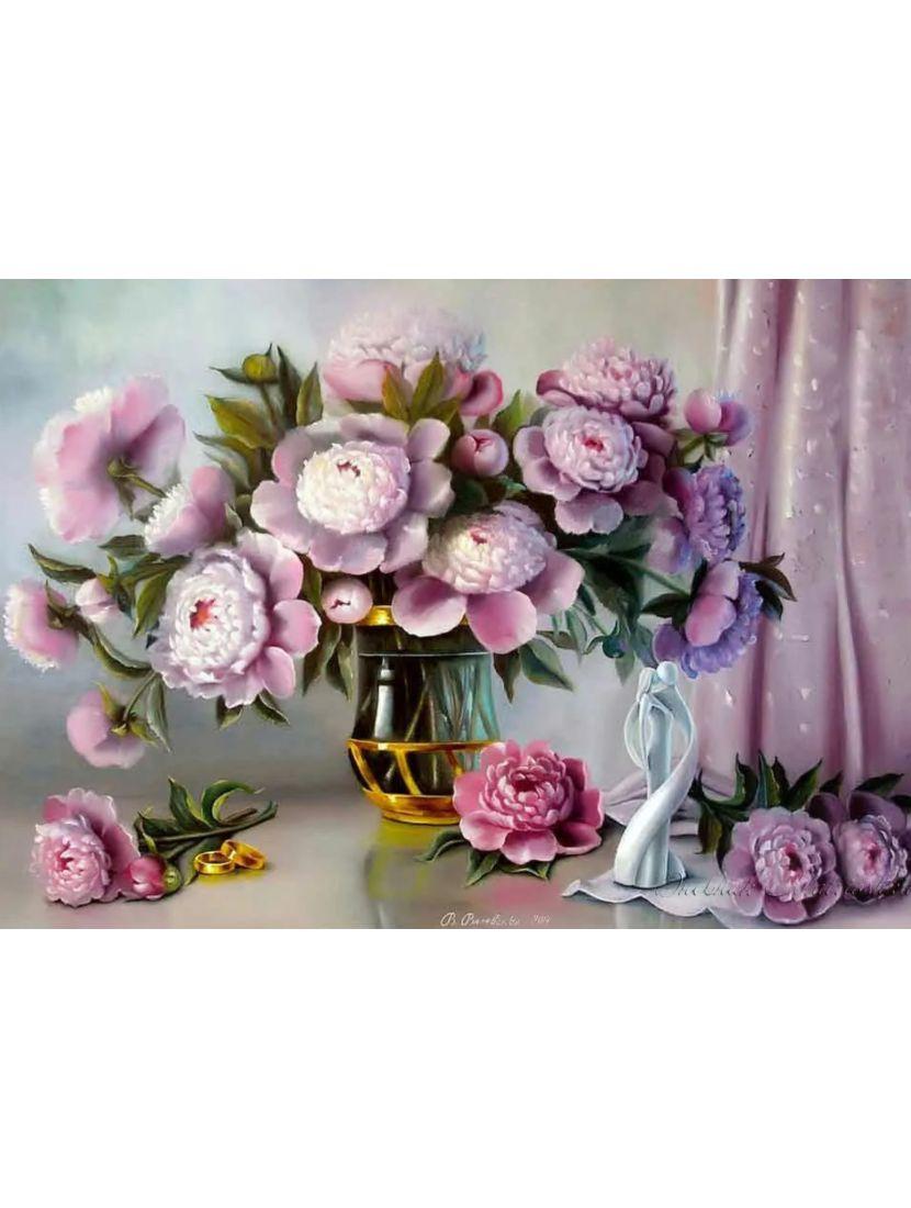 Картина по номерам  на подрамнике «Цветы»
