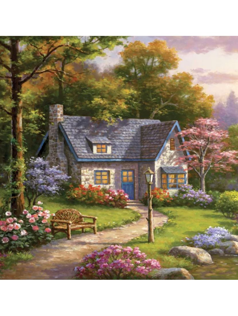 Картина по номерам  на подрамнике «Домик в лесу»