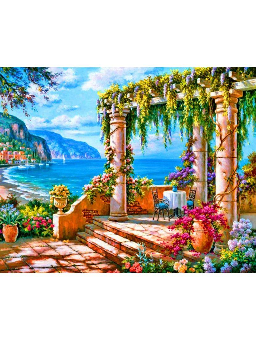 Картина по номерам  на подрамнике «Средиземноморская веранда»