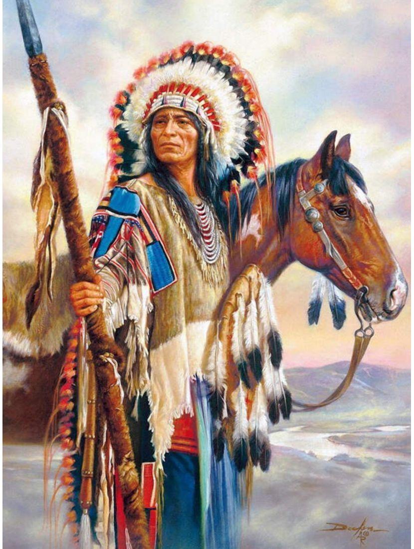 Картина по номерам  на подрамнике «Индейский вождь»