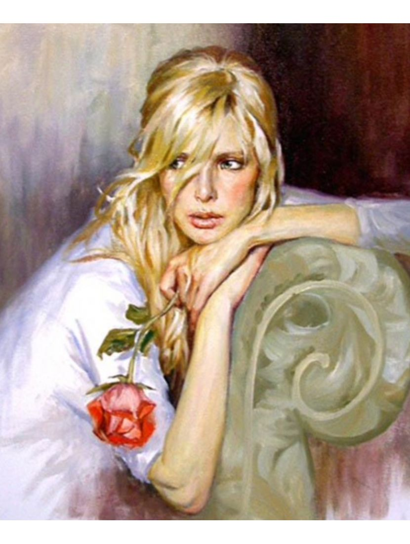 Картина по номерам  на подрамнике «Девушка и роза»