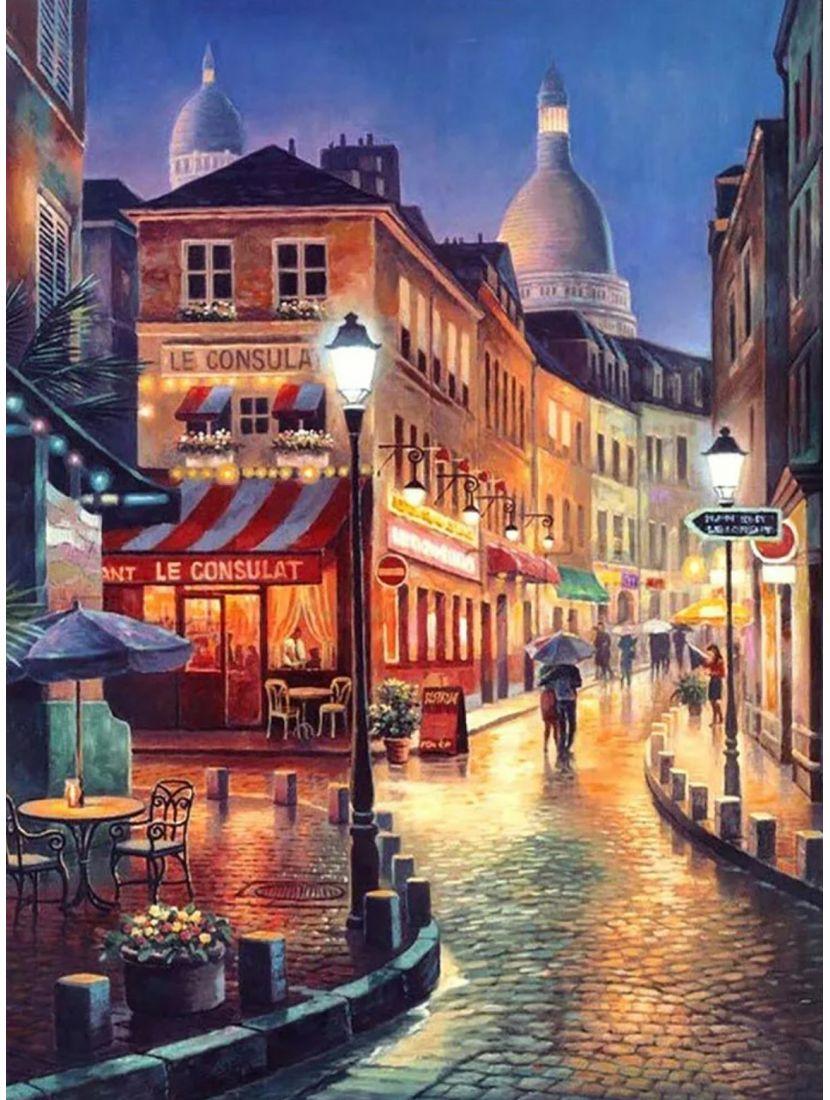 Алмазная мозаика на подрамнике «Ночное кафе»