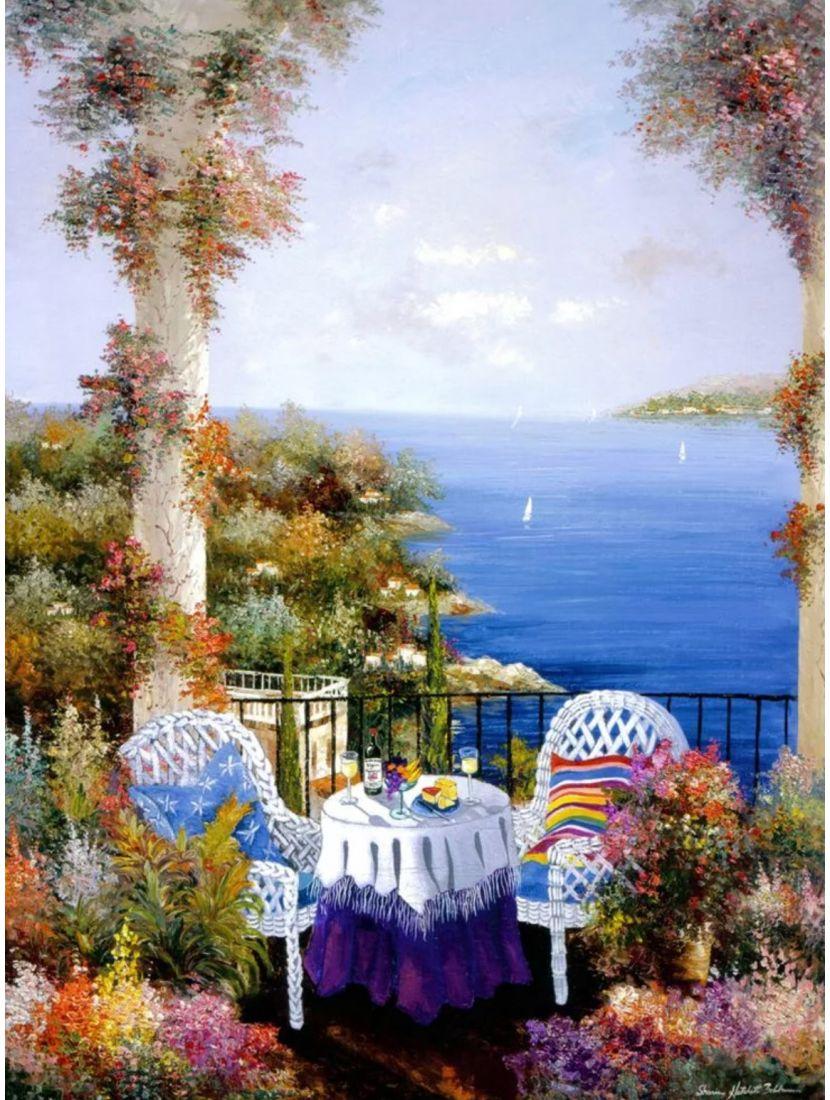 Алмазная мозаика на подрамнике «Поздний ужин на берегу»